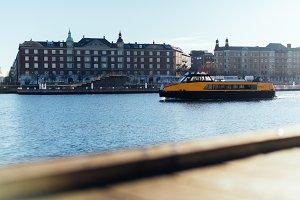 Copenhagen City Ferry in Winter Sun