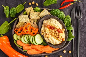 traditional hummus with vegetables