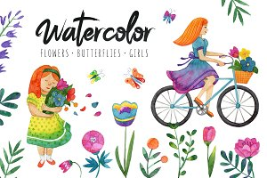 Watercolor spring set