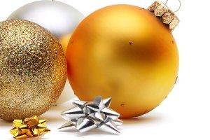 gold and silver Christmas balls