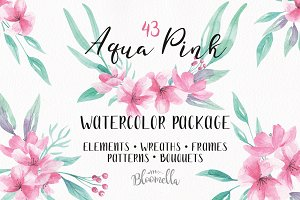 Pink Watercolor Flowers Clipart Kit