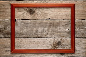 Wooden frame on old wood