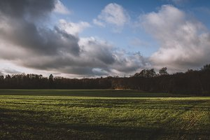 Autumn Field with Sunshine & Clouds