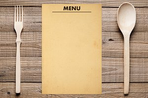 Blank menu, fork and spoon