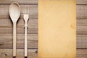 Blank paper, fork and spoon