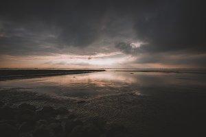 Minimal Dark Ocean Sunset