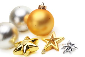 gold and silver Christmas balls