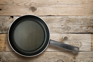 Frying pan on old wood