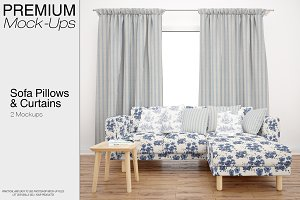 Sofa, Pillows & Curtains Mockup Pack