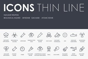 Nuclear weapon thinline icons