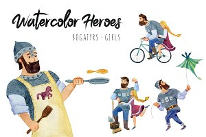 Watercolor heroes with girls