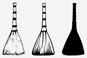 broom silhouette vector SVG DXF PNG