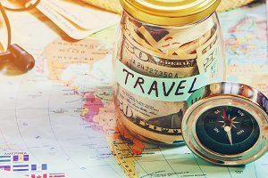 Travel. Map. Selective focus.