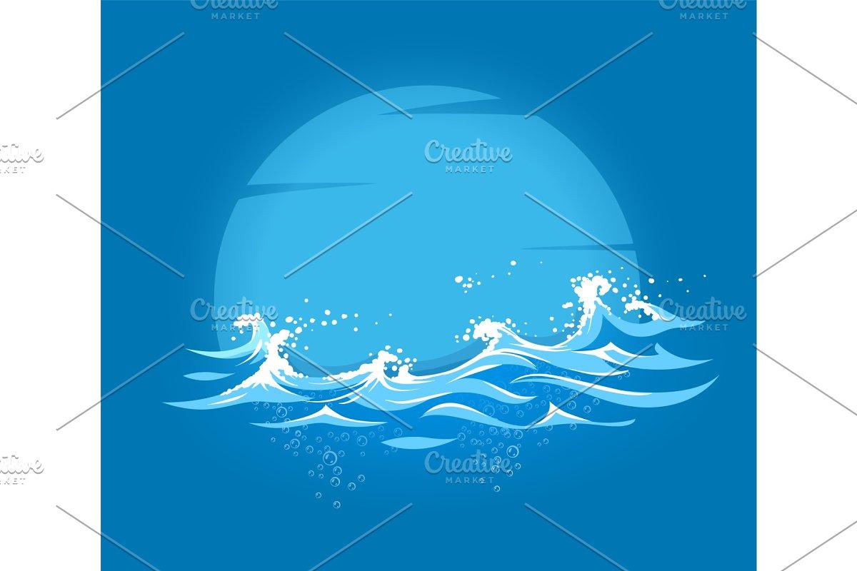 Sea and ocean marine waves with foam