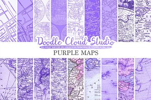 Purple Vintage Maps digital paper