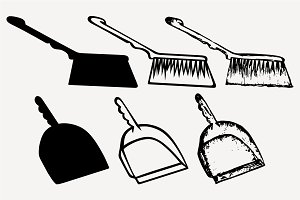 dustpan and sweeping brush SVG