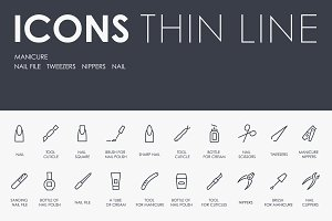 Manicure thinline icons