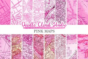 Pink Vintage Maps digital paper