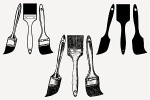 paint brush set vector SVG DXF PNG