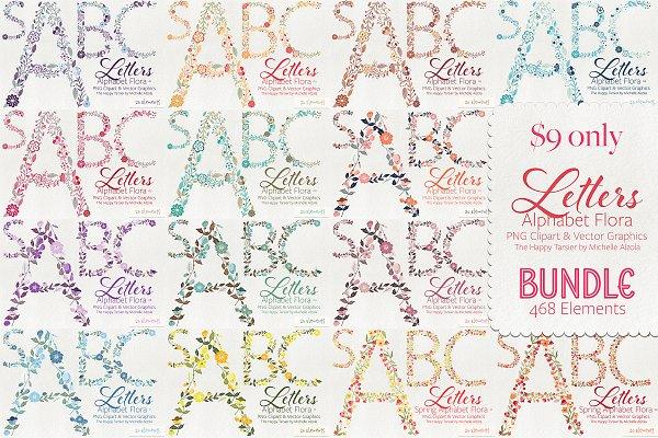 Letters Flora BUNDLE Save 90%
