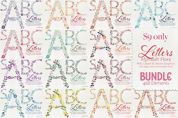 Letters Flora BUNDLE Save 90%