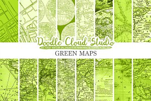 Green Vintage Maps digital paper