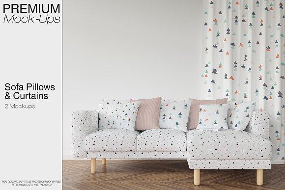 Free Sofa Pillows & Curtains Mockup Pack