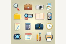 Business office items icons