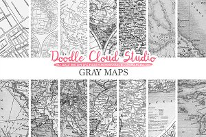 Gray Maps digital paper