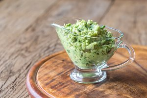Guacamole in glass gravy-boat