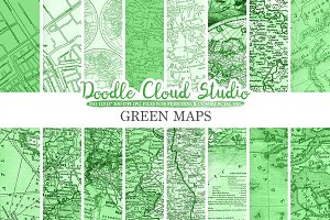 Dark Green Vintage Maps