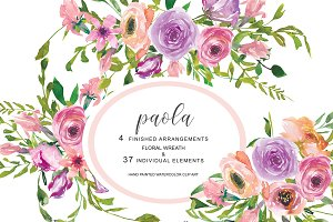 Watercolor Blush Pink Roses Clip Art