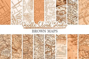 Brown Vintage Maps digital paper