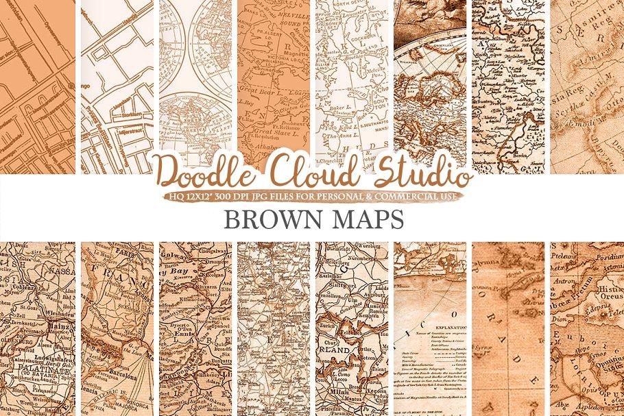 Brown Vintage Maps digital paper