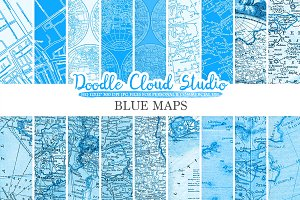 Blue Vintage Maps digital paper