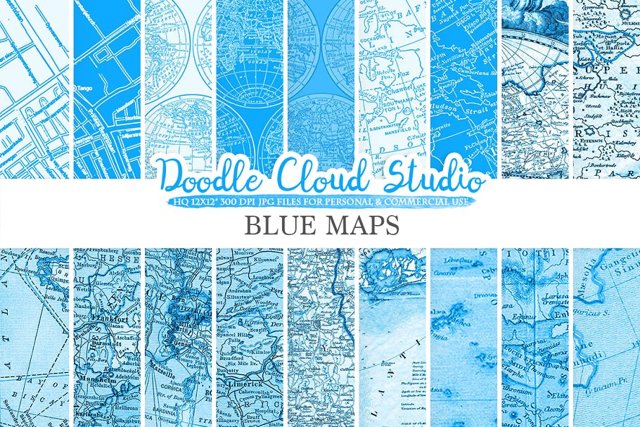 Blue Vintage Maps digital paper
