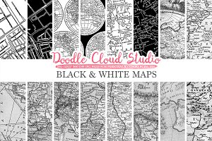 Black and White Maps digital paper