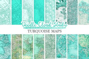 Aqua Vintage Maps digital paper