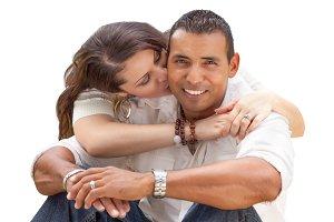 Happy Young Hispanic Couple on White