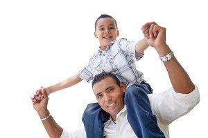 Father & Son Having Fun on White