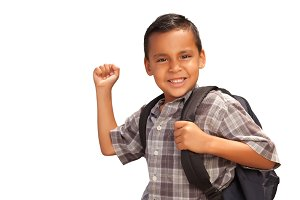 Hispanic Boy with Backpack on White