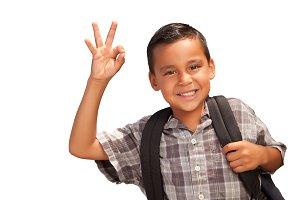 Hispanic Boy with Backpack on White