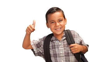 Happy Young Hispanic School Boy with