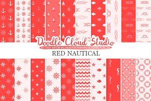 Red Nautical digital paper