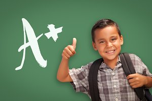 Hispanic Boy, Thumbs Up, A+ on Green