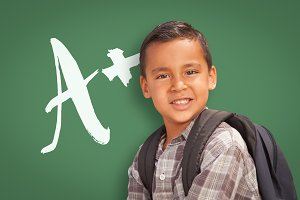 Hispanic Boy, Backpack, A+ on Green