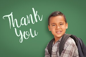 Hispanic Boy with Thank You on Green