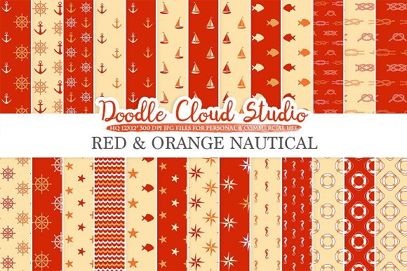 Red And Orange Nautical Digital Pape