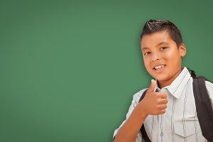 Hispanic Boy, Thumbs Up on Green