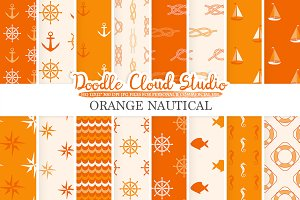 Orange Nautical digital paper